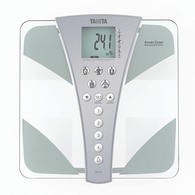 Stylová skleněná osobní digitální váha Tanita BC-543
