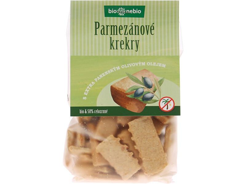 Zobrazit detail výrobku Bio nebio s. r. o. Bio Parmezánové krekry s EP olivovým olejem 130g - SLEVA - KRÁTKÁ EXPIRACE 6.10.2021