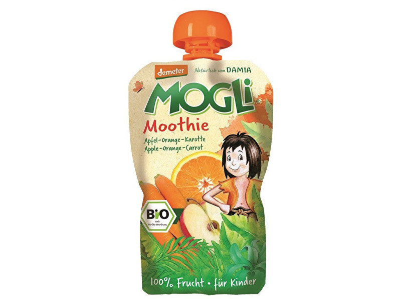 Zobrazit detail výrobku MOGLI Bio Ovocné pyré Moothie jablko pomeranč mrkev bez cukru 100 g