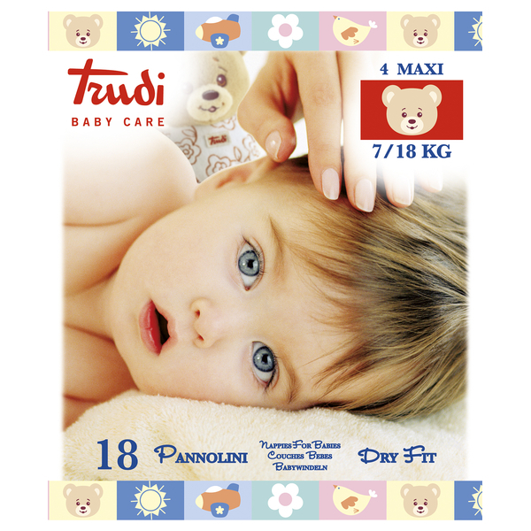 Trudi Detské plienky Dry Fit s vrstvou Perfo-Soft veľkosť Maxi 7-18 kg 18 ks