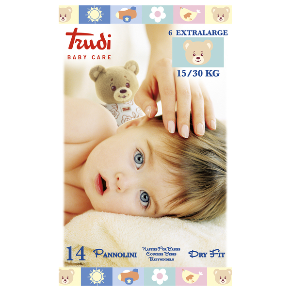 Zobrazit detail výrobku Trudi Dětské pleny Trudi Dry Fit s vrstvou Perfo-Soft velikost XL 15-30 kg 14 ks