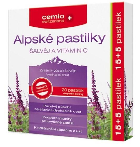 Zobrazit detail výrobku Cemio Alpské pastilky ŠALVĚJ A VITAMIN C 15+5 pastilek
