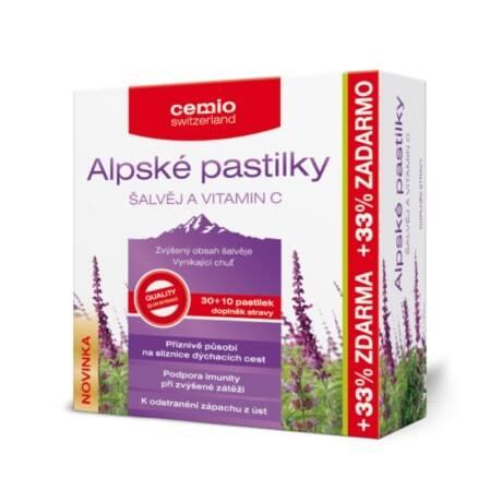 Zobrazit detail výrobku Cemio Alpské pastilky ŠALVĚJ A VITAMIN C 30+10 pastilek