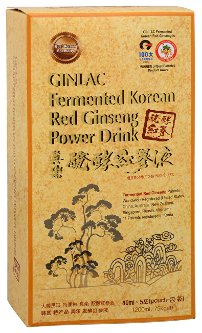 GINLAC Fermented Red Ginseng Power Drink MILD - ženšenový nápoj 5 x 40 ml