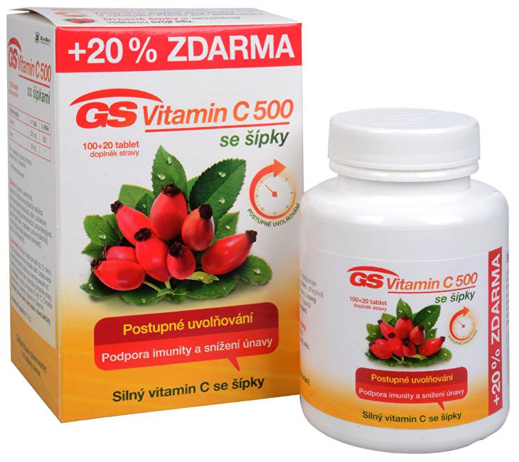Zobrazit detail výrobku Green-Swan GS Vitamin C 500 + šípky 100 tbl. + 20 tbl. ZDARMA