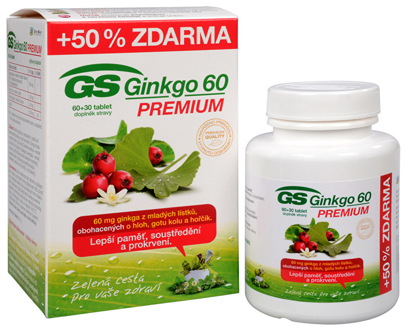 Zobrazit detail výrobku Green-Swan GS Ginkgo 60 Premium 60 tbl. + 30 tbl. ZDARMA