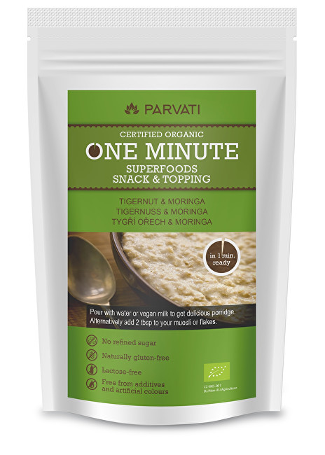Parvati One Minute SUPERFOODS snack & topping TYGŘÍ OŘECH A MORINGA 300 g
