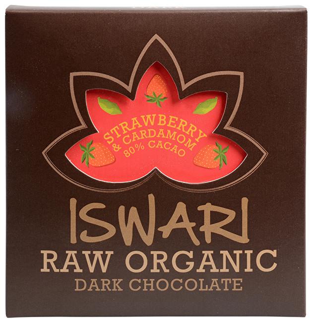 Zobrazit detail výrobku Iswari Raw čokoláda - Strawberry & Cardamom 80 % BIO 75 g