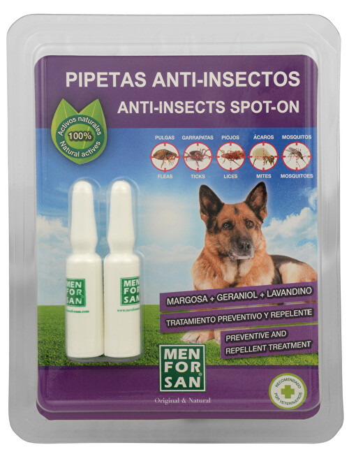 Menforsan Antiparazitní pipety pro psy (100 percent Natural Repellent Anti-parasite Spot on for Dogs) 2 x 1,5 ml