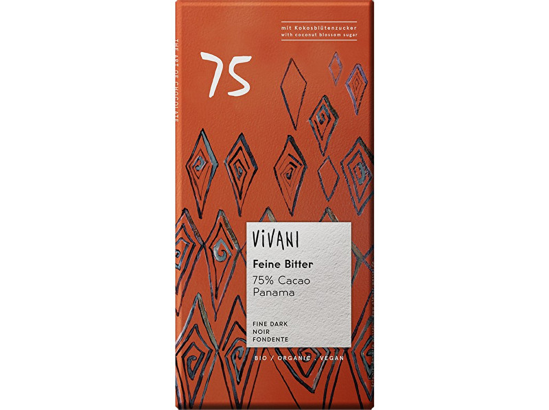 Zobrazit detail výrobku VIVANI Bio hořká čokoláda 75% s kokosovým cukrem VIVANI 80 g