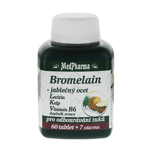 Bromelain 300 mg + jablečný ocet + lecitin + kelp + vitamín B6 60 tbl. + 7 tbl. ZDARMA