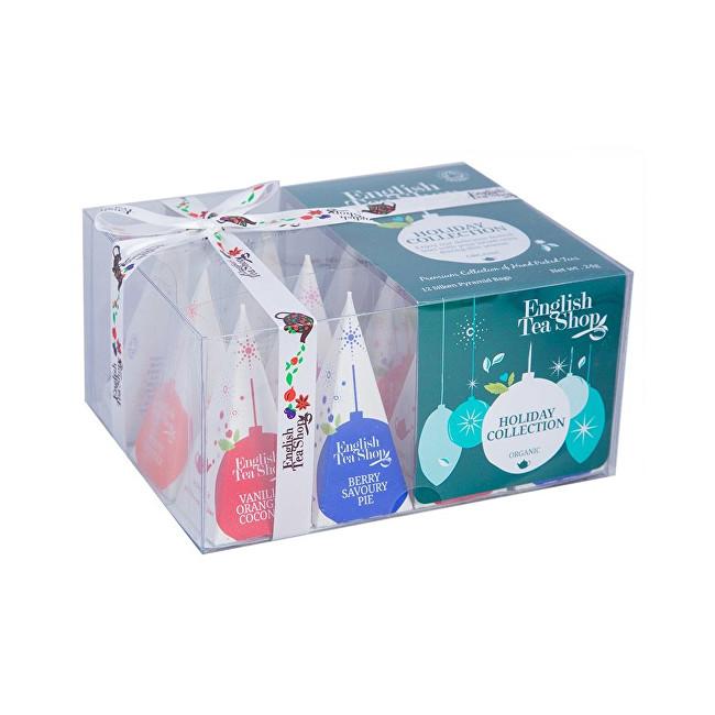 Dárková vánoční krabička Zelené ozdoby BIO 12 pyramidek