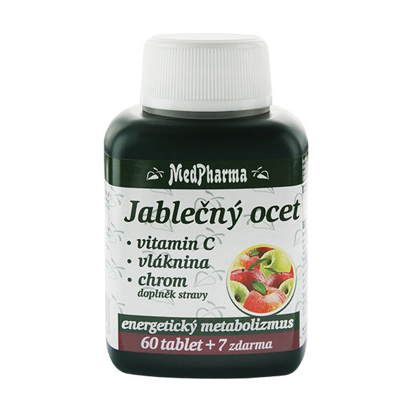 Zobrazit detail výrobku MedPharma Jablečný ocet + vitamín C + vláknina + chrom 60 tbl. + 7 tbl. ZDARMA