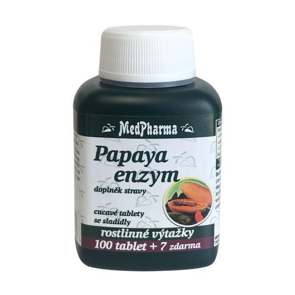 Papaya enzym – cucavé pastilky bez cukru s příchutí broskve 100 tbl. + 7 tbl. ZDARMA