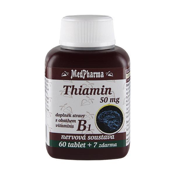 Zobrazit detail výrobku MedPharma Thiamin 50 mg – doplněk stravy s obsahem vitamínu B1 60 tbl. + 7 tbl. ZDARMA