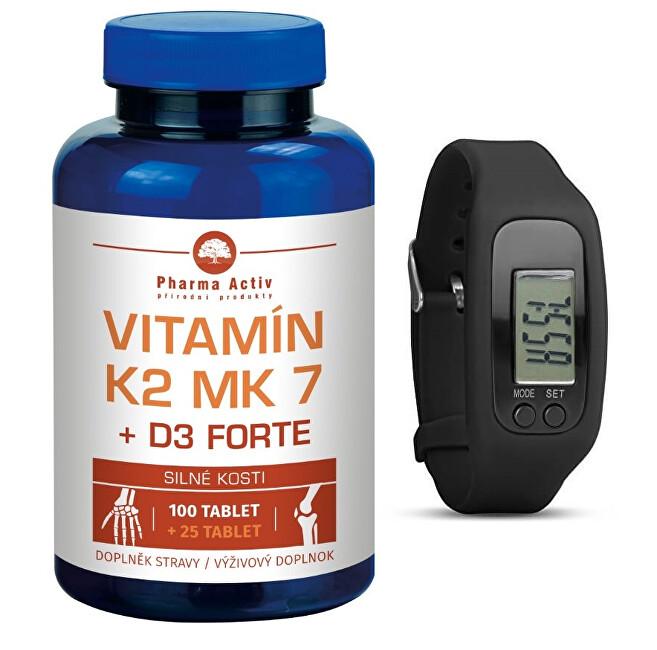 Pharma Activ Vitamín K2 MK7 + D3 FORTE 100 tbl. + 25 tbl. ZD ARMA + Fitness náramok s krokomerom
