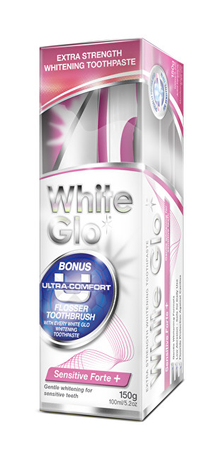 White Glo zubní pasta Sensitive Forte 150g + kartáček na zuby a mezizubní kartáčky