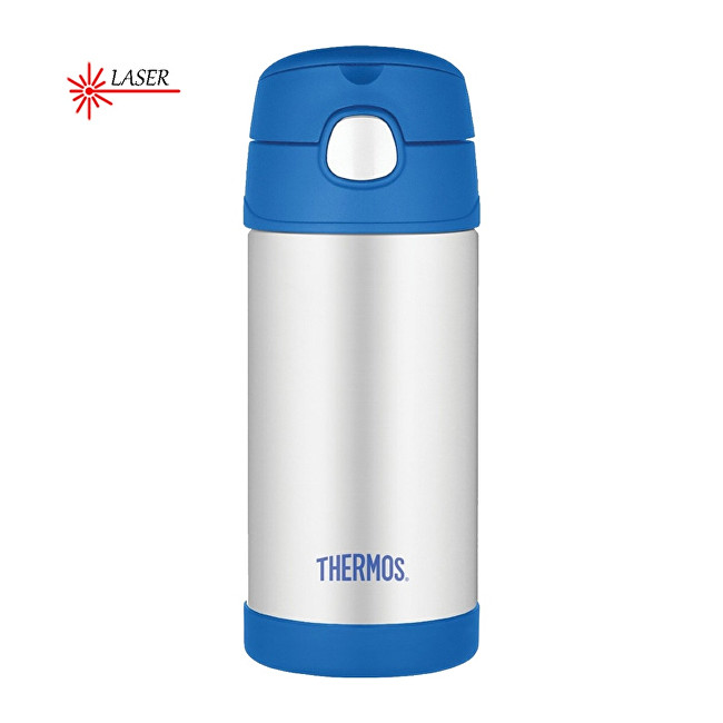 Zobrazit detail výrobku Thermos FUNtainer Dětská termoska s brčkem - stříbrná/modrá 355 ml