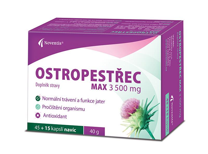 Zobrazit detail výrobku Noventis Ostropestřec Max 3500 mg 45 + 15 kapslí