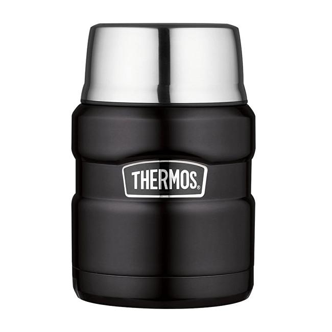 Zobrazit detail výrobku Thermos Style Termoska na jídlo se skládací lžící a šálkem - matně černá 470 ml