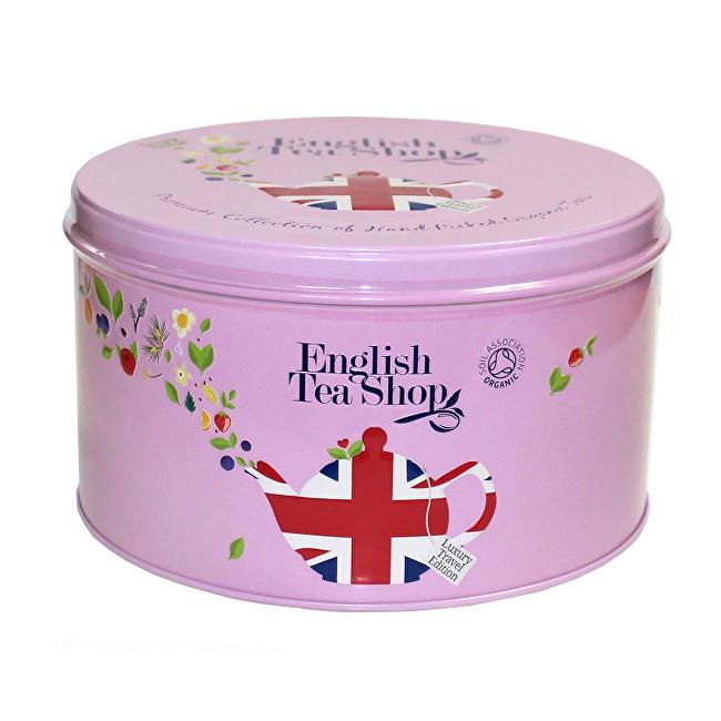 Zobrazit detail výrobku English Tea Shop Dárková kulatá růžová plechovka – kolekce Union Jack - 30 pyramidek