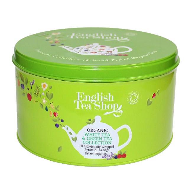 Zobrazit detail výrobku English Tea Shop Dárková kulatá zelená plechovka – BIO zelené a bílé čaje – 30 pyramidek