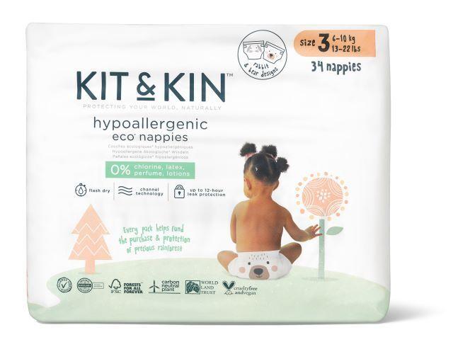 Zobrazit detail výrobku Kit & Kin Kit & Kin eko plenky, velikost 3 (34 ks), 6-10 kg