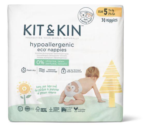 Zobrazit detail výrobku Kit & Kin Kit & Kin eko plenky, velikost 5 (30 ks), 11 kg+