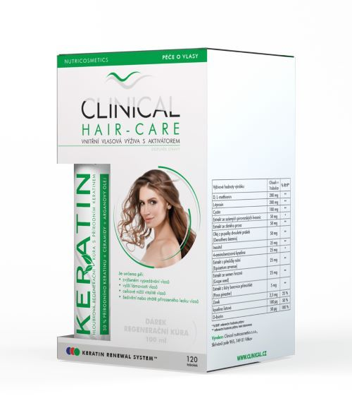 Zobrazit detail výrobku Clinical Clinical Hair-Care 120 tobolek + keratin 100 ml - kúra na 4 měsíce