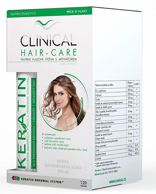 Zobrazit detail výrobku Clinical Clinical Hair-Care 120 tobolek + keratin 100 ml - kúra na 4. měsíce