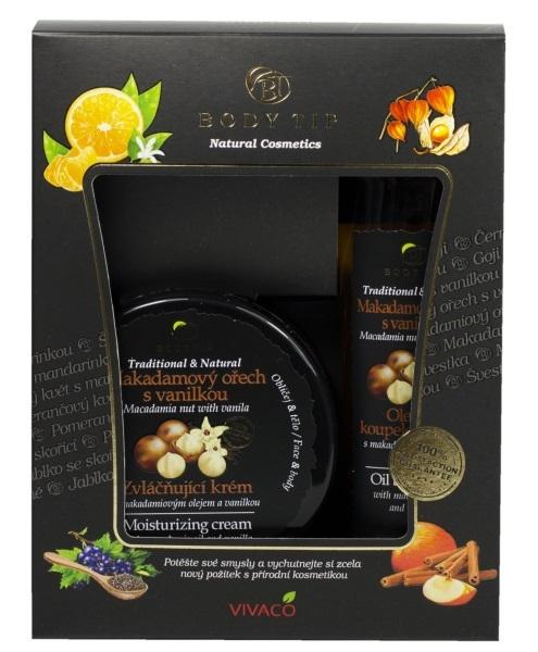 Dárková kazeta Makadamový ořech s vanilkou - Zvláčňující krém 200 ml + Pěna do koupele 200 ml