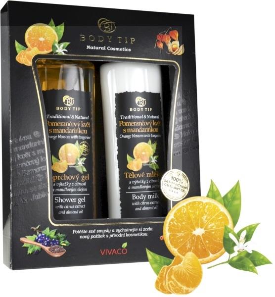 Dárková kazeta Pomerančový květ s mandarinkou- sprchový gel 200 ml, tělové mléko 200 ml