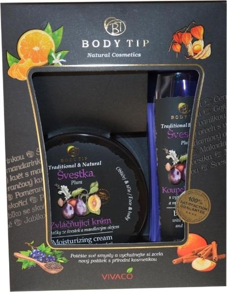 Zobrazit detail výrobku Body tip Dárková kazeta Švestka - Zvláčňující krém 200 ml + Pěna do koupele 200 ml