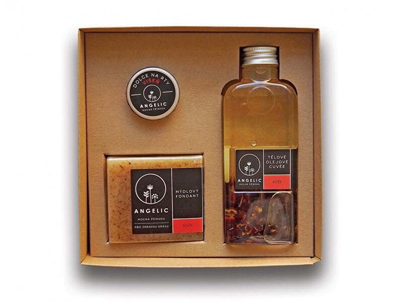Zobrazit detail výrobku Angelic Tělové olejové Cuvée Růže 200 ml + Mýdlový fondant Růže Angelic 105 g + Dolce na rty Višeň Angelic 15 ml dárková sada