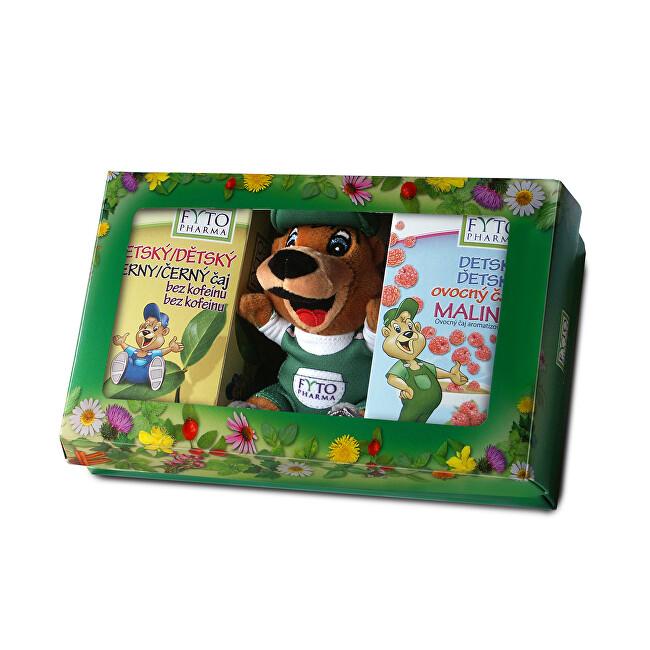 Zobrazit detail výrobku FYTO Dětská dárková kazeta s hračkou ovocný čaj Malina 20x2 g černý čaj bez kofeinu 20x1,5 g 1x1 set