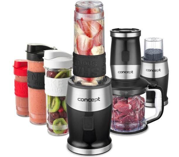 Zobrazit detail výrobku Concept Fresh&Nutri smoothie mixér, chopper, mlýnek, 700W + láhve 2 x 570 ml + 400 ml černý SM3390