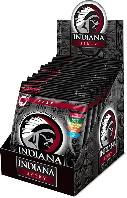 Zobrazit detail výrobku Indiana Indiana Jerky beef (hovězí) Hot & Sweet 250 g - display