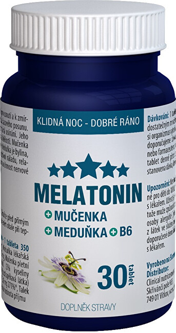 Zobrazit detail výrobku Clinical Nutricosmetics Melatonin Mučenka Meduňka B6 30 tablet