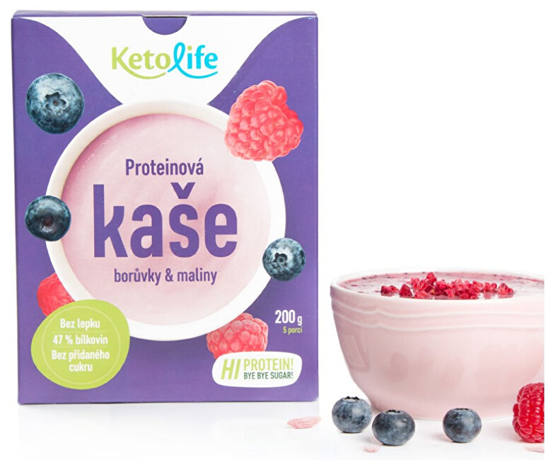 Zobrazit detail výrobku KetoLife Proteinová kaše - Borůvky a maliny 5 x 40 g