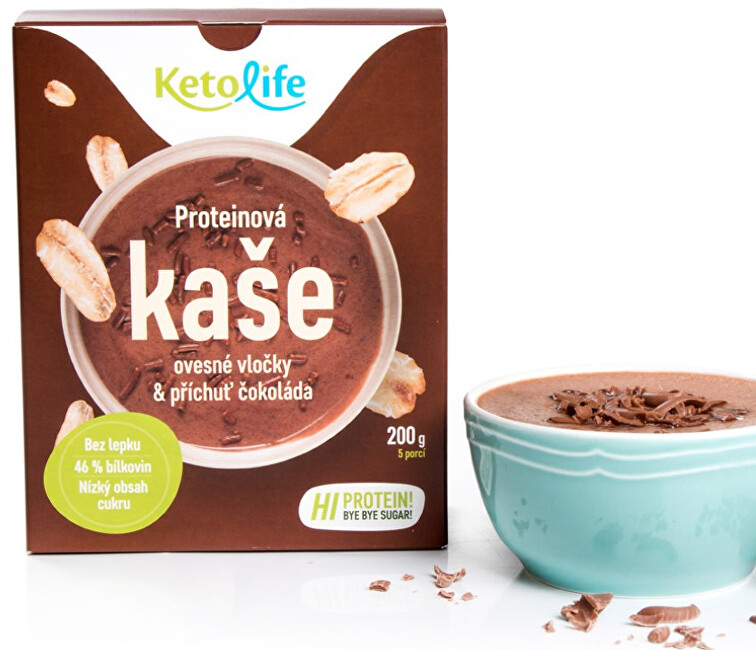 Zobrazit detail výrobku KetoLife Proteinová kaše - Ovesné vločky a příchuť čokoláda 5 x 40 g