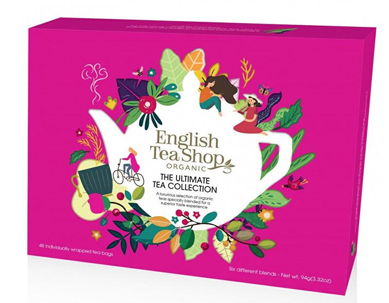 Zobrazit detail výrobku English Tea Shop Prémiová sada čajů BIO v papírové kazetě 48 sáčků - 6 příchutí, červená