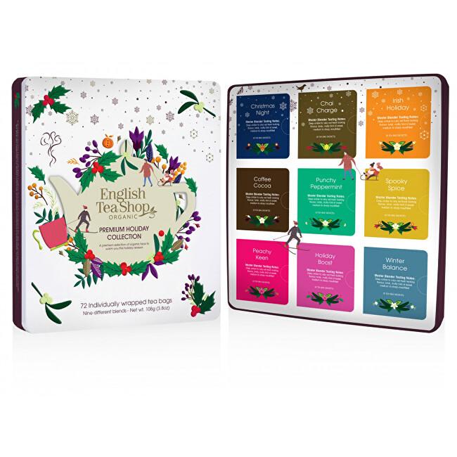 Zobrazit detail výrobku English Tea Shop Prémiová dárková kolekce čajů BIO v plechové kazetě, 72 sáčků - bílá