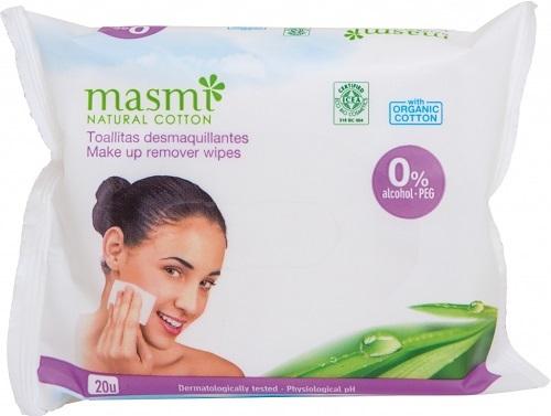 Zobrazit detail výrobku Masmi Vlhčené odličovací ubrousky z organické bavlny 20 ks