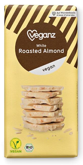 Zobrazit detail výrobku Veganz Bílá čokoláda s praženými mandlemi, Bio 80 g