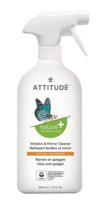 Zobrazit detail výrobku ATTITUDE Nature+ Čistič na sklo a zrcadla ATTITUDE s vůní citronové kůry s rozprašovačem 800 ml