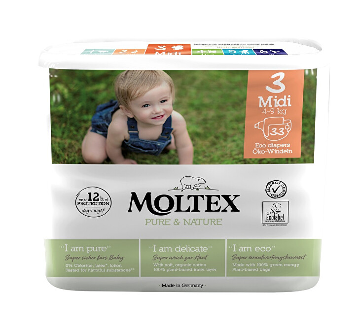 Zobrazit detail výrobku Moltex Pure & Nature Plenky Moltex Pure & Nature Midi 4-9 kg  (33 ks)