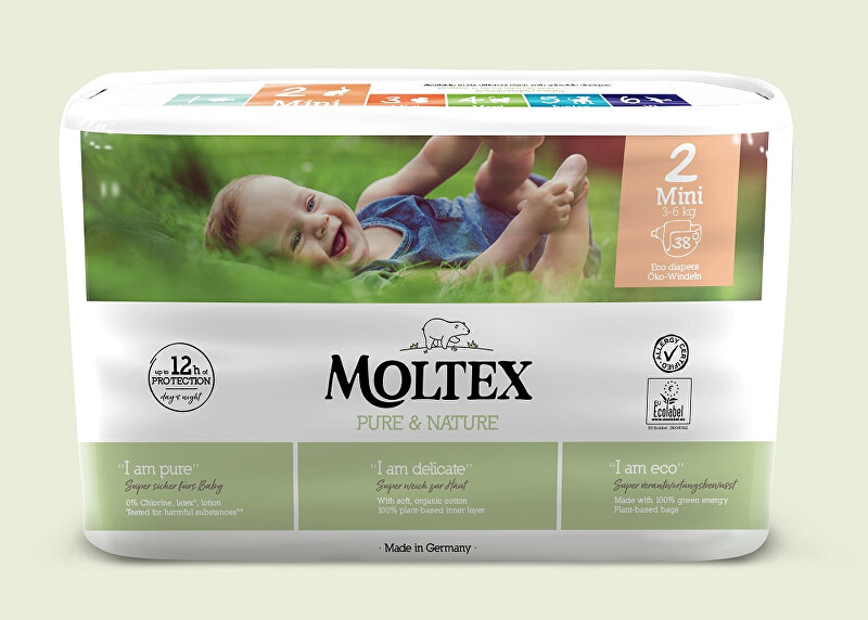 Zobrazit detail výrobku Moltex Pure & Nature Plenky Moltex Pure & Nature Mini 3-6 kg (38 ks)