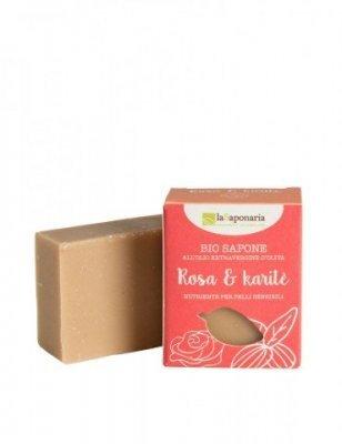 laSaponaria Tuhé olivové mydlo BIO 100 g Růžový olej a bambus