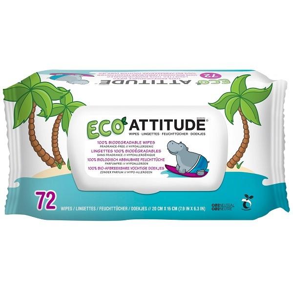 Zobrazit detail výrobku Attitude Hypoalergenní a eko vlhčené ubrousky bez vůně balení 72 ks