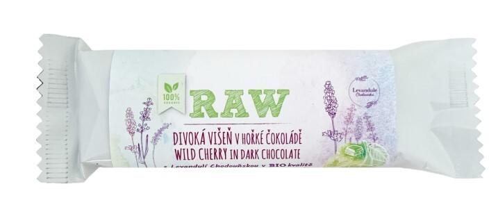 BIO RAW tyčinka Divoká višeň s Levandulí Chodouňskou v hořké čokoládě 50 g